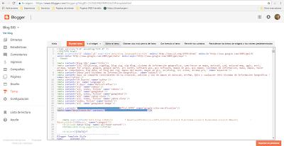 Pegando codigo Bing Webmaster en Blogger