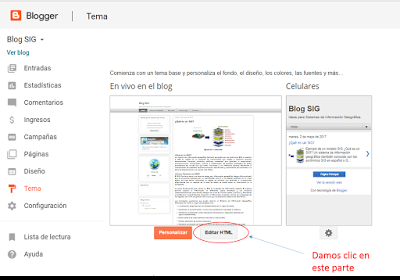 Editar el codigo en BlogSig