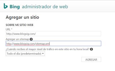 Agregando sitemap en Bing Webmaster