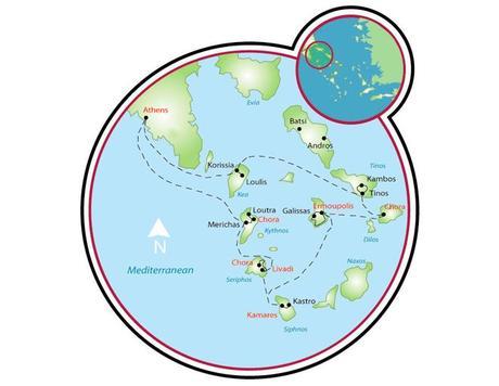 Mapa de las Cícladas