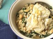 Bacalao arroz butifarra blanca, judias espinacas Cooking Chef