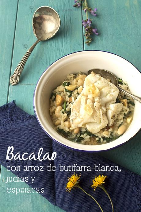 Bacalao con arroz de butifarra blanca, judias y espinacas - Cooking the Chef