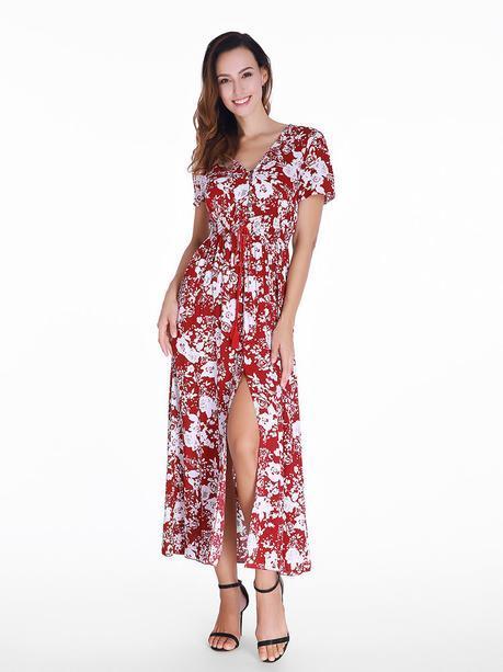 Gracila Women Floral Printed Self Tie Fringe Split Long Maxi Boho Dresses