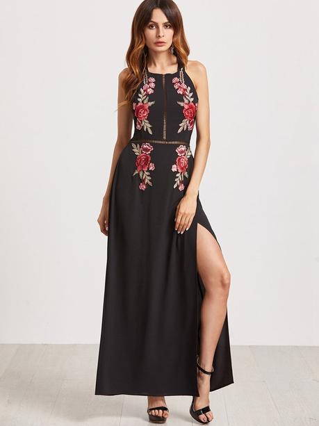 Sexy Floral Embroidered Backless Slit Hem Halter Women Maxi Dress