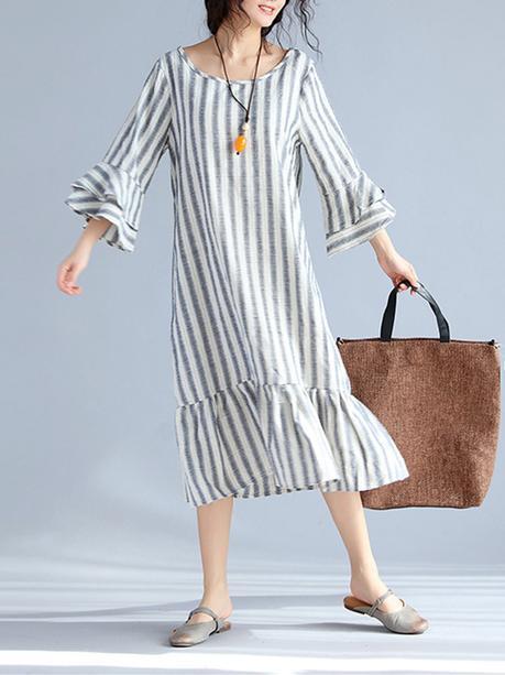 Vintage Women Stripe 3/4 Sleeve Spring Long Maxi Dresses