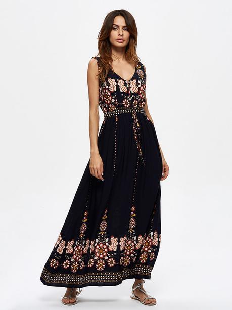 Folk Style Floral Print Sleeveless V-neck Maxi Dress For Women