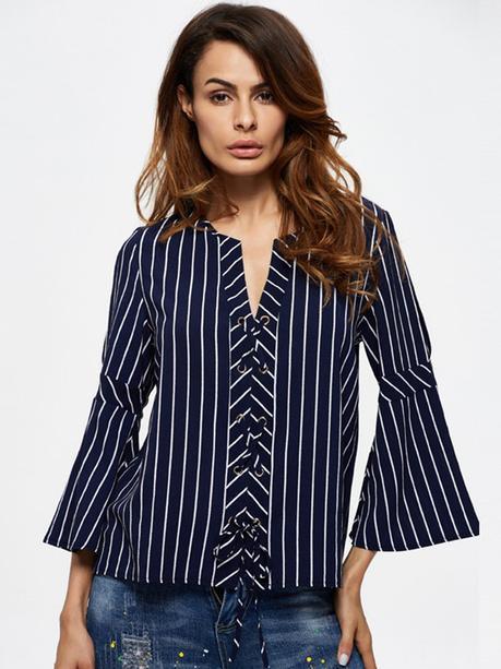 Women Stripe 3/4 Sleeve V-Neck Off Shoulder Chiffon Blouses