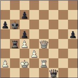 Partida de ajedrez Rey Ardid vs. Medina, posición después de 41…Df1