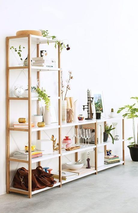 estanteria abierta de madera