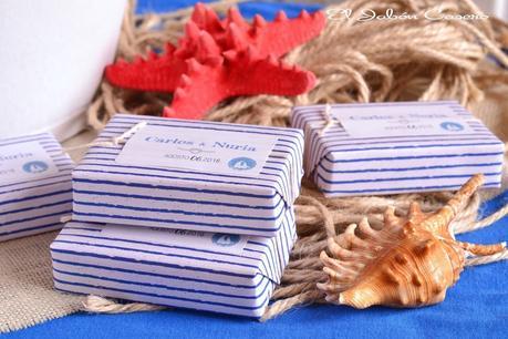 Detalles para boda marinera jabones personalizados estilo nautico en azul