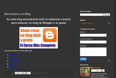 Pagina de inicio en Blog