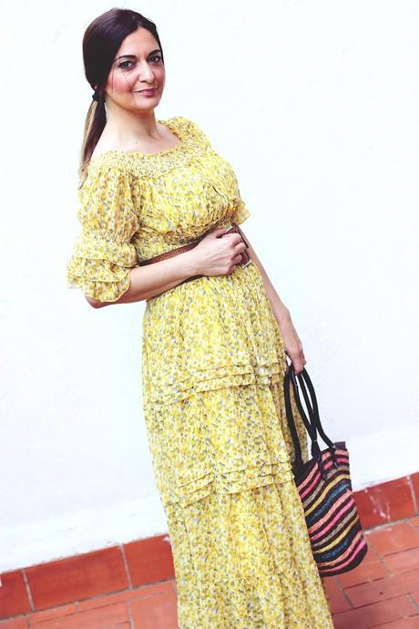 Vestido largo en amarillo