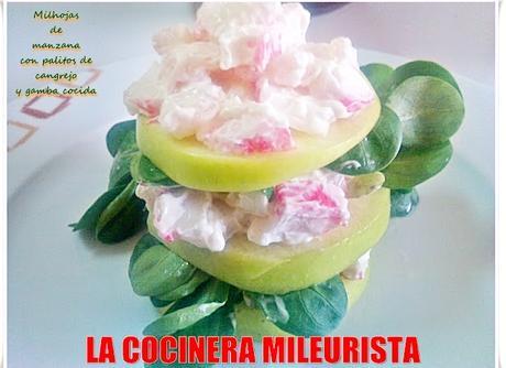 Milhojas de Manzana con Palitos de Cangrejo y Gamba cocida