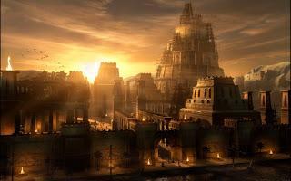 Puesta de sol y skyline de Babilonia.