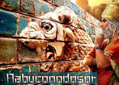Nabuconodosor II, rey de Babilonia, mesándose su plateada barba.