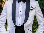 Esmoquin italiano jacquard blanco mixto seda negro