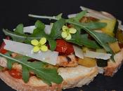Tosta verduras asadas lomo, rúcula parmesano