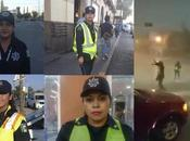 Ellas oficiales bajo intensa lluvia cumplieron deber