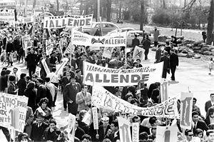 Marchers for Salvador Allende. A crowd of peop...