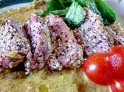 Atún rojo salsa espárragos Tonno crosta sesamo crema asparagi