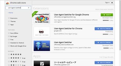 Google Chrome User Agent Switcher