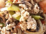 Espirales espelta pollo, cebolla, pimiento verde champiñones (express)
