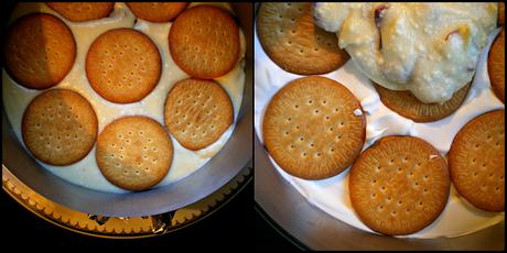 Montaje del pastel de cerezas con chocolate y dos quesos