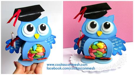 Souvenirs de buhitos en foami para fiesta de graduación