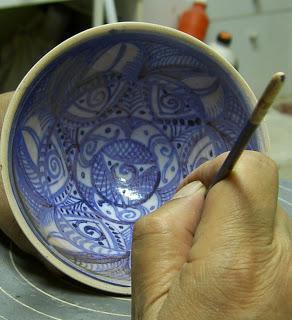 Probando a pintar con cobre y cobalto.