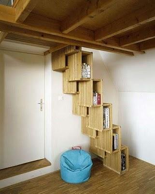 Muebles ahorra espacio escalera y biblioteca simult neas - Escaleras para bibliotecas ...