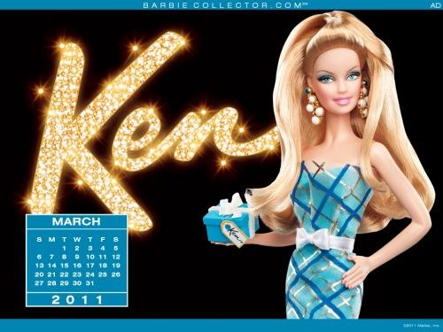 Desktop Calendar: March, by Barbie Collector