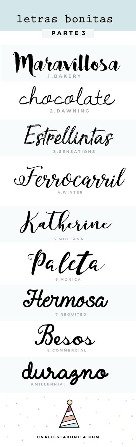 Tipos de letras para hacer cartelitos y banners