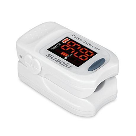 Suaoki - Pulsioxímetro de Dedo Oxímetro Pulsómetro Digital (Pantalla LED, Medidor de Sangre Oxígeno, Frecuencia Cardíaca, Para Adultos y Ninos, con Caso Protector) Blanco