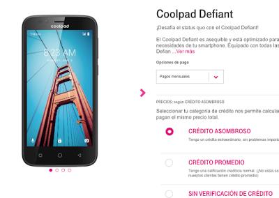 Compra El Coolpad Defiant en T-Mobile por US$100