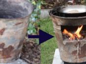 mejor cocina leña para hacer ricas comidas aire libre ¡Solo balde viejo!