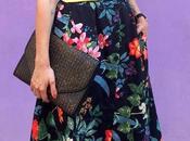 Falda midi estampado flores