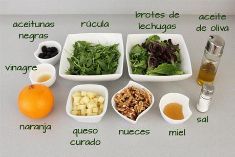 Ingredientes para hacer ensalada de rúcula, naranja y queso