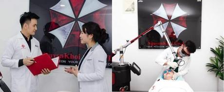 Plagian el logo de Umbrella en una clínica de belleza