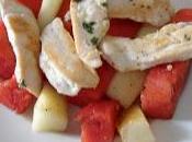 Filetes pollo frutas verano plancha