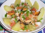 Ensalada patata, gambas mejillones