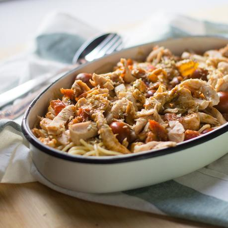receta de espaguetis con pollo y tomates cherry con thermomix