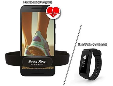 Bluetooth 4.0y ANT + Sensor de frecuencia cardíaca para Runtastic, Wahoo, Strava App & propia App para iPhone 4S/5/5C/5S/6/6s/6+/7/7+ Android Samsung Huawei Asus Lenovo Sony LG–berryking Heart Rate Medidor de frecuencia cardíaca/Sensor Ant + & Bluetooth 4.0para Garmin, TomTom, iPhone, Android