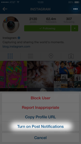 Notificaciones en instagram