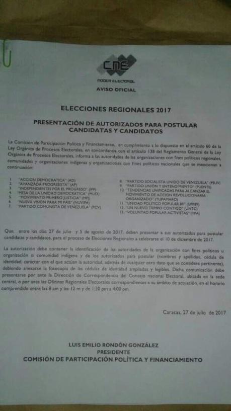 CNE: Trece partidos podrán postular candidatos a elecciones regionales del 10-D