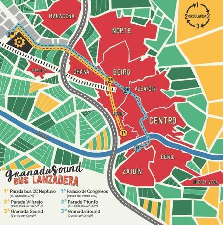 mapa bus lanzadera Granada Sound