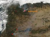 Imagen satélite incendios forestales Encinedo (León) centro Portugal (24/08/2017)