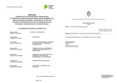 DGCyE: CONCURSO INSPECTORES TITULARES DE SECUNDARIA RESOLUCIÓN Nº 1553/17