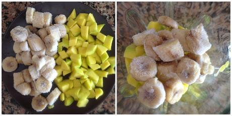 Helado vegano de banana y mango