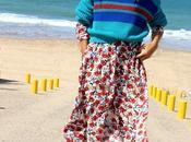 vestido flores largo jersey caja