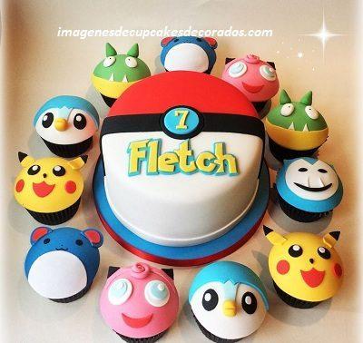cupcakes decorados con fondant para cumpleaños pokemon
